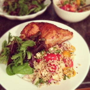 Grilled chicken leg with bulgur salad