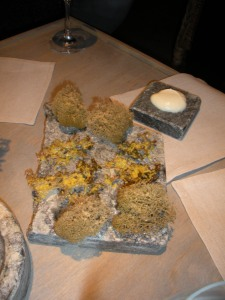 Lichen and moss, cleaned, deep-fried and seasoned with dried cod roe