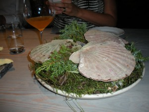 Fäviken: Scallop in the shell, cooked over burning juniper branches