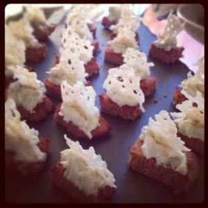 Roasted Gingerbread with Gorgonzola and Parmesan Sail