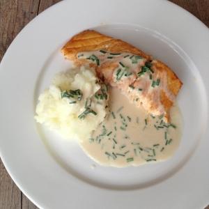 Salmon with chive sauce