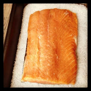 Salmon on Salt Bed