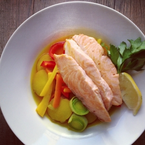 Salmon with saffron vegetables