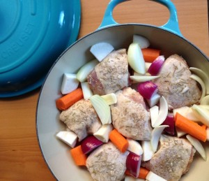 Chicken Thighs with Root Vegetables and Onions