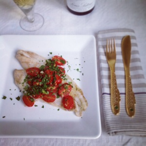 Torbay Sole with Tomatoes and Garlic