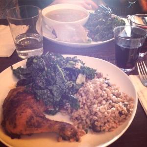 Harissa Chicken, Farro and Kale salad