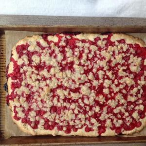 Baked red currant squares