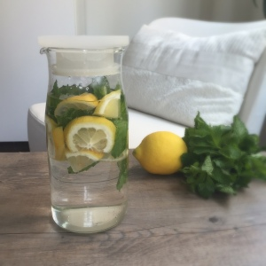 Lemon and mint infused water