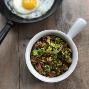 Brussel sprouts and sausage hash