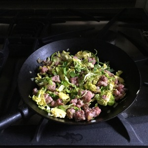 Brussel sprouts and sausage