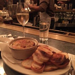 Baked artichoke dip at Freemans NYC